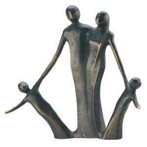 """Bronzeskulptur """"Familie med 2 børn"""""""