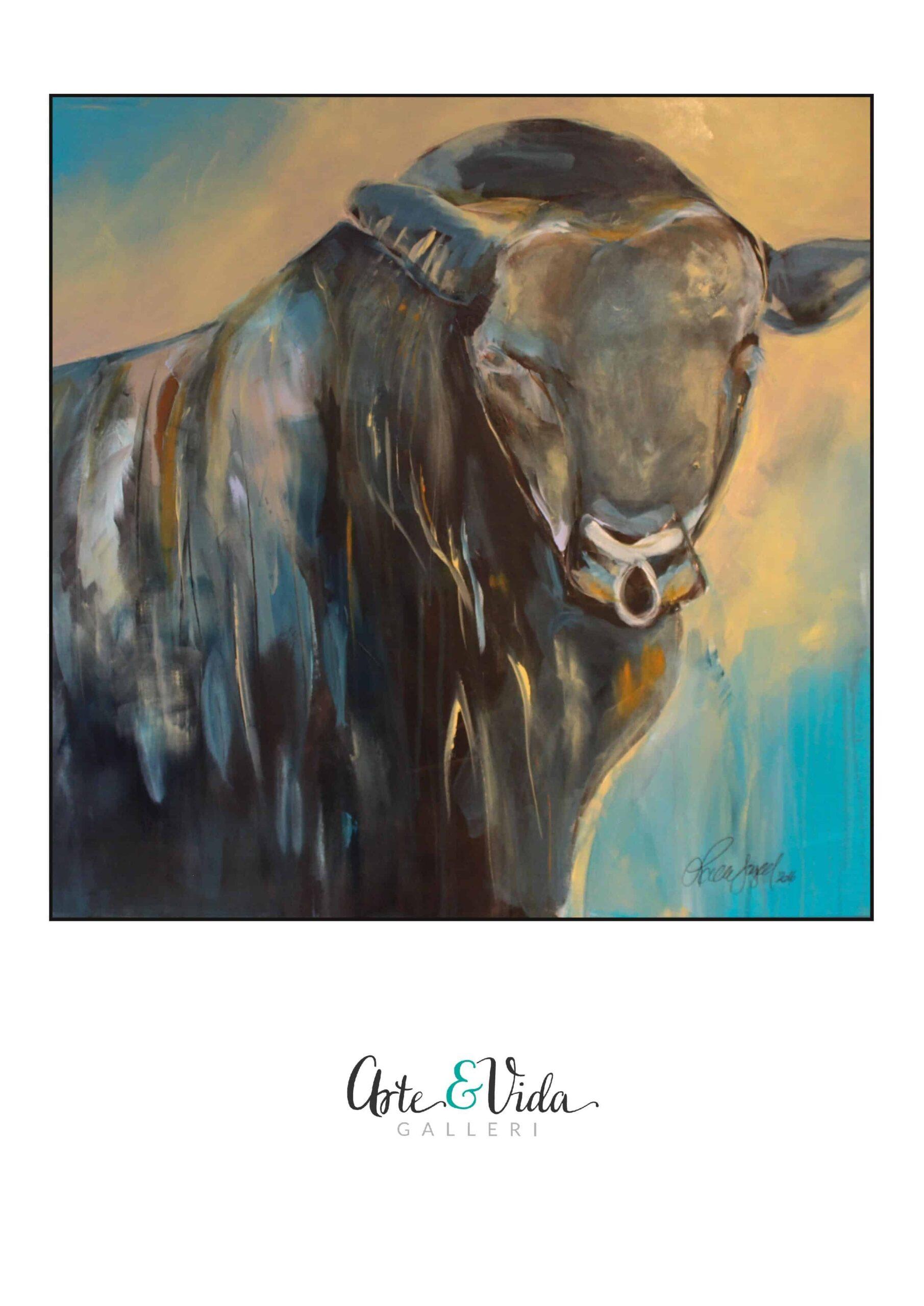 """Kunsttryk """"Strong Blue Bull"""""""