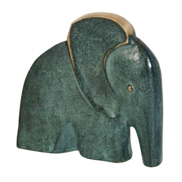 Elefant, gylden/grøn patineret